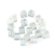 20pcs Milky 6mm Faceted Square Cube Cut glass crystal Loose Spacer beads