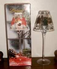"""Alco Litetyme Poinsettia Glass Candle Holder NIB Handcrafted Glassware 11.5"""""""