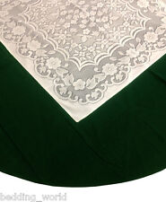"69"" ROUND GREEN VELVET LACE TABLE CLOTH TRADITIONAL CHRISTMAS PARTY OCCASIONS"