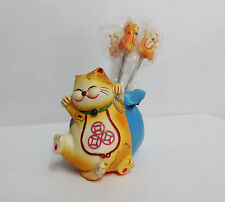 Maneki Neko Lucky Cat Fruit Picker ToothPick Holder Money Bag
