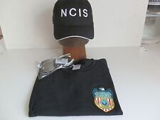 NCIS Shield embroidered onto Black T-Shirt L 41/43 + NCIS Cap +  Sunglasses, New