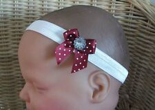BABY GIRL/CHILD DAINTY SPOTTED BOW BLING GEM HEADBAND MANY COLOURS AVAILABLE