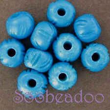 10 Round Bone Beads Dyed Turquoise 9x10mm Carved Design