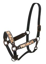 Leather Belt Style Halter w/ ORANGE Painted Filigree Tooling! NEW HORSE TACK!