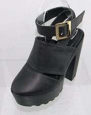 Women's Bucco Ringen Black Rounded Toe Open Back Heel Size 7.5 M