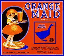 San Fernando Orange Maid Blue Goose Orange Citrus Fruit Crate Label Art Print