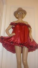 SISSY SEXY CHRISTMAS BELLS RUBY SATIN SHORT BABY DOLL NAUGHTY DRESS MAID  CD TV
