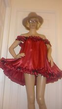 SISSY SEXY VALINTINE BELLS RUBY SATIN SHORT BABY DOLL NAUGHTY DRESS MAID  CD TV
