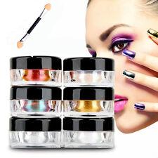 Set 6 Couleur Miroir Poudre Pigment Ongle Paillette Chromé Argent Doré Nail Art