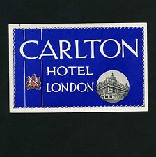 Carlton Hotel LONDON UK Great Britain * Old Luggage Label Kofferaufkleber