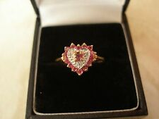 9 CARAT GOLD RUBY & DIAMOND SET CLUSTER RING MADE IN ENGLAND BRAND NEW IN BOX
