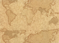 World Map on Parchment, Antique, Fabric, Passport, 3 Sisters, Moda (By 1/2 yd)