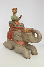 """Unique Vintage Wooden Elephant with Guitar Player made in Thailand 11.5"""""""