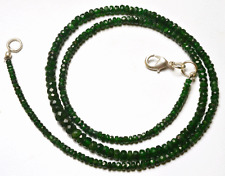 """NATURAL 19"""" TOP QUALITY GREEN GARNET FACETED RONDELLE BEADS NECKLACE 2 - 5 MM"""