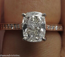 2.00CT ESTATE VINTAGE CUSHION DIAMOND ENGAGEMENT WEDDING RING 14K ROSE GOLD EGL
