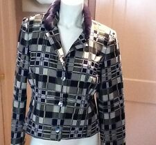 BILL BLASS NEW YORK OLIVE/DUSK PLAID FUR COLLAR WOMENS JACKET SIZE-10