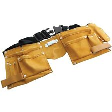 TOOL WORK APRON BELT MULTI 11 POCKET LEATHER TOOL BELT POCKET POUCH ADJUSTABLE