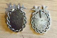 2 Swallow Oval Pendant Frames Fit 25mm X 18mm Cabochon Antique Silver Rockabilly