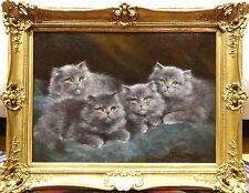 Fine Large 19th Century Portrait Of Four Grey Kittens Cats Antique Oil Painting
