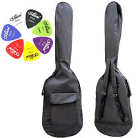 Double Straps Padded Electric Bass Guitar Bag Soft Case Gig Bag + 10 Alice Picks
