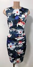 Grey White Floral Ruch Front Wiggle Pencil Smart Office Party Dress Size 8
