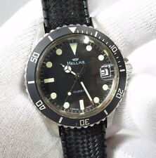 HELLAS,ESA 536.121.Brevet Case,Blk Date/Just ,Glow Markers,MEN'S DIVE WATCH,378
