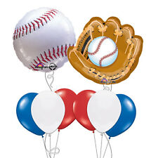 Baseball Birthday Party Little League Bouquet of Balloons Red White Blue