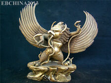 "12"" China Tibet Buddhism Brass Bronze Golden Wings Dapeng Bird Buddha Sculpture"