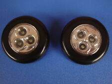2 Pcs  3 LED Touch Light Batteries Powered Tap Lamp, LED Push Light black colour