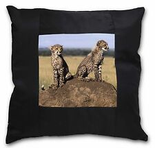 Cheetahs on Watch Black Border Satin Scatter Cushion Christmas Gift, AT-25-CSB