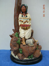 "APSIT  BROS. of  CALIF. 1980 - CHALKWARE  ""INDIAN  MAIDEN""  32"" TABLE  LAMP"