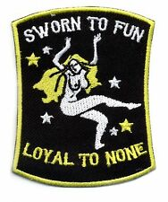 Motorcycle Patch Sworn to Fun Loyal to NONE Chopper Novelty Retro Rockabilly