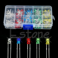 New 200Pcs 3mm LED Light White Yellow Red Blue Green Assortment Diodes DIY Kit