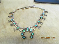 Jerry Francisco Navajo Indian Signed Silver & Turquoise Squash Blossom Necklace