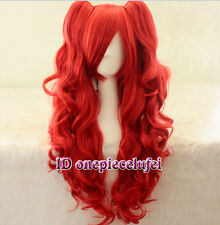 Lolita with clip on ponytails long Curly Girl cosplay hair full wig +a wig cap