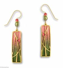 Adajio OLIVE & Sunset PINK Column EARRINGS w/ Reeds Overlay Gold Filled 7535 Box