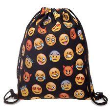 Smile Emoji Gym Bag Unisex Emoticon Drawstring Shoulder School Backpack Rucksack