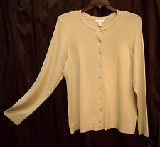 WOW~CLASSIC KNIT BUTTON FRONT SAND/BEIGE CARDIGAN JACKET SWEATER TOP~2X~1X~NEW