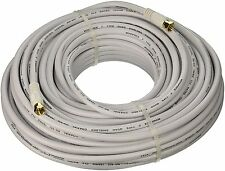 Monoprice 100ft RG6 18AWG 75Ohm Quad Shield CL2 Coaxial Cable F-Connector White