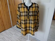 NEW UNBRANDED POLYESTER BLACK & GOLD 3/4 TAB SLEEVE BLOUSE SIZE 18
