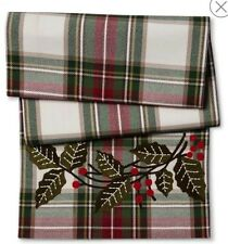 "Threshold Holly Berry Plaid Holiday Christmas Table Runner  15 x 72"" NWOT"
