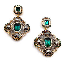 BELLISSIMO Anthropologie Barocco Look Perle Verde Goccia Dangle Earrings NUOVI