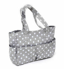 Hobby Gift Grey and White Polka Dot Spot PVC Craft Storage Bag
