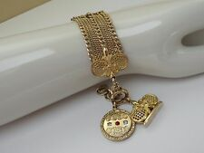 Antique Wide Gold Filled Pocket Watch Chain Bracelet Wax Seal & Jeweled Fobs