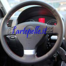 VW GOLF 5 COPRIVOLANTE su misura in VERA PELLE NERA traforata CUCITURE ROSSE