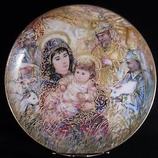 Edna Hibel Christmas Plate, 1988, The Adoration Of The Shepherds, Edwin Knowles