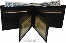 Men's bifold leather wallet, 2 center pieces 9 card 3 IDs Genuine leather wallet