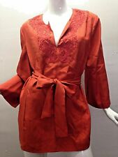 Talbots Belted Embroidered Beaded Silk Tunic Top Blouse Lrg 18