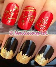 NAIL ART CHRISTMAS SET 804 GOLD DECORATIONS WATER TRANSFERS/STICKERS & GOLD LEAF