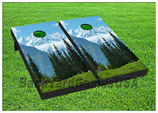 VINYL WRAPS Cornhole Boards DECALS Mountain in Forest BagToss Game Stickers 385